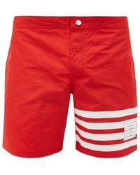 Thom Browne Striped Swim Shorts - Red