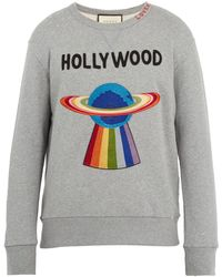 Gucci - Spaceship Appliqué Distressed Cotton Sweatshirt - Lyst