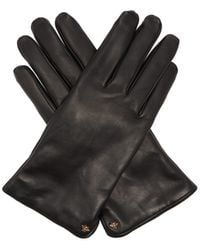 Gucci Bee-motif Leather Gloves - Black
