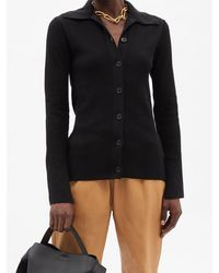 FRAME Cardigan col en pointe en coton mélangé côtelé - Noir