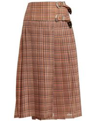 Toga - Pleated Checked Mesh Skirt - Lyst