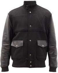 Valentino レザー&ウールカシミア ボンバージャケット - ブラック