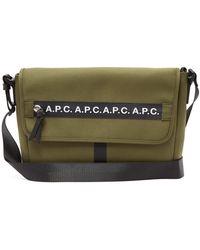 A.P.C. Saville Logo-stripe Canvas Messenger Bag - Multicolor
