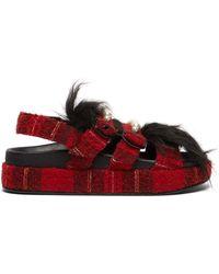Simone Rocha Tartan Beaded Fur Chunky Slides - Red