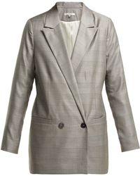 Ganni Merkel Double Breasted Silk And Wool Blend Blazer - Gray