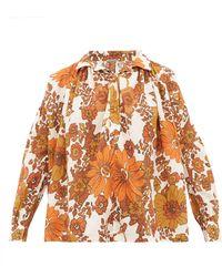 Dodo Bar Or Blouse en coton à imprimé floral Valerie - Marron