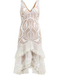 Jonathan Simkhai Guipure Appliqué V Neck Dress - White