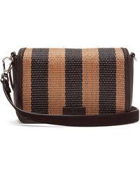 Fendi Striped Raffia And Leather Cross-body Bag - Black