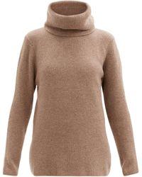 Ernest Leoty Ombelined Roll-neck Ribbed Wool-blend Sweater - Natural