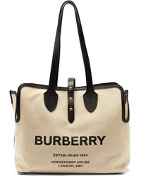 Burberry Tb-print Leather-trimmed Cotton Tote Bag - Black