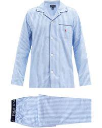 Polo Ralph Lauren ストライプ コットンパジャマセット - ブルー