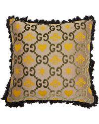 Gucci Gg Jacquard Velvet Cushion Black Multi