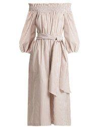 Caroline Constas - Lou Off-the-shoulder Striped Cotton Jumpsuit - Lyst