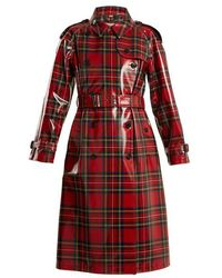 Burberry - Laminated-tartan Wool Trench Coat - Lyst