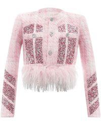 Germanier Feather-trimmed Embellished Tweed Jacket - Pink