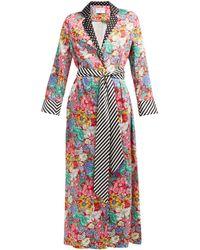 Racil - X Aquazzura Amalfi Belted Floral-print Satin Dress - Lyst