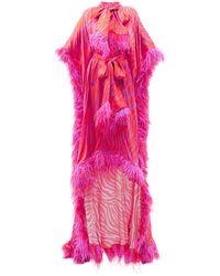 Halpern フェザートリム ゼブラサテンドレス - ピンク