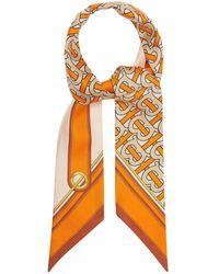 Burberry Tb シルクサテンスカーフ - オレンジ