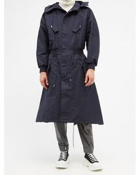 Alexander McQueen Twill Hooded Trench Coat - Blue