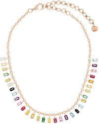 SHAY Dot Dash Rainbow Diamond & 18kt Gold Choker - Metallic