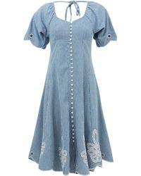 Innika Choo Madonna Phulman Striped Cotton Dress - Blue
