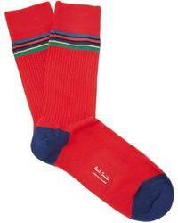 Paul Smith - Striped Rib-knit Cotton-blend Socks - Lyst