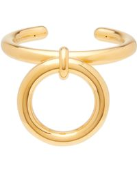 Bottega Veneta Hoop Charm Gold Plated Sterling Silver Cuff - Metallic