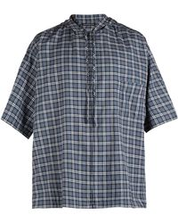 Balenciaga Hooded Short Sleeved Plaid Cotton Shirt - Blue