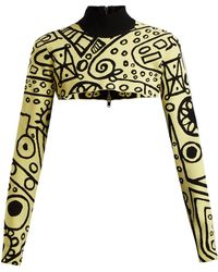 Colville - Abstract Print Cropped Sweater - Lyst