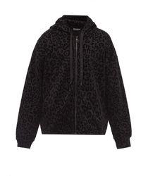 Dolce & Gabbana レオパード ジップアップコットンパーカー - ブラック