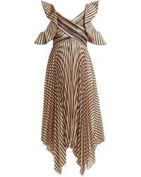 Self-Portrait Asymmetric Striped Satin Dress - Multicolour