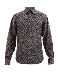 Tom Ford ゼブラ ポプリンシャツ - ブラック