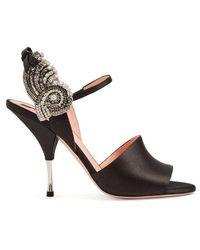 Rochas Crystal-embellished Satin Sandals - Black