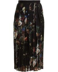 Adam Lippes - Floral-print Pleated Chiffon Midi Skirt - Lyst