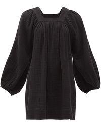 Anaak Carrie Mae Square-neck Cotton-muslin Dress - Black