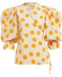 Rhode Resort - Valentina Printed Cotton-blend Voile Wrap Top - Lyst