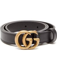 Gucci Gg Leather Belt - Black
