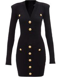 Balmain Vネック ジャージードレス - ブラック