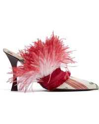 Brock Collection X Tabitha Simmons Feather & Satin Mules - Multicolor