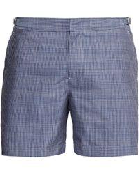 Orlebar Brown Short de bain en chambray à carreaux Bulldog - Bleu