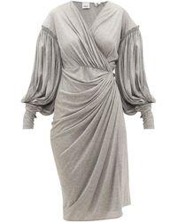 Burberry バルーンスリーブ シルクブレンドジャージー ドレス - グレー