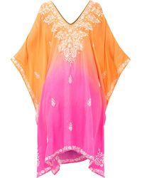Juliet Dunn Embroidered Silk Kaftan - Pink