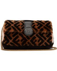 764029a4be27 Fendi - Double Baguette Logo Shearling Bag - Lyst