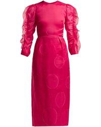 Carolina Herrera ポルカドット フィルクーペ シルクブレンドドレス - ピンク