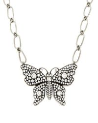 Gucci - Butterfly Crystal-embellished Necklace - Lyst