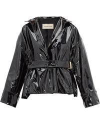 Alexandre Vauthier Patent-leather Belted Jacket - Black
