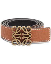 Loewe Anagram-buckle Reversible Leather Belt - Brown