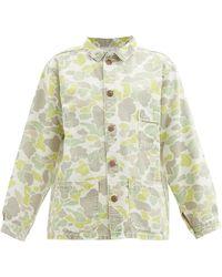 Raey Vintage Camouflage-print Denim Shacket - Green