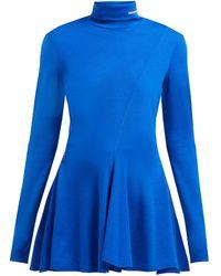 Calvin Klein ロゴエンブロイダリー タートルネック フレアウールセーター - ブルー