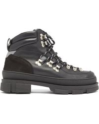 Ganni Suede-panel Leather Hiking Boots - Black